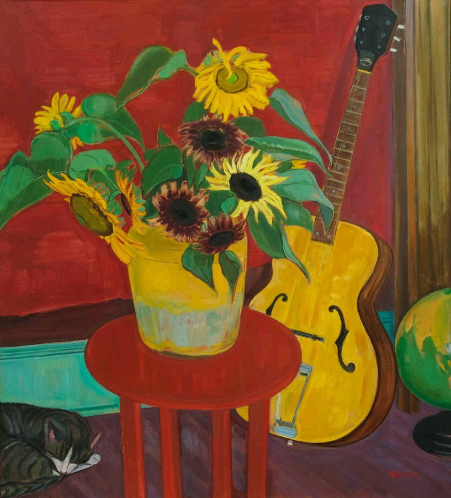 """Sunflowers And Guitar  40"""" x 34""""  Oil On Linen"""