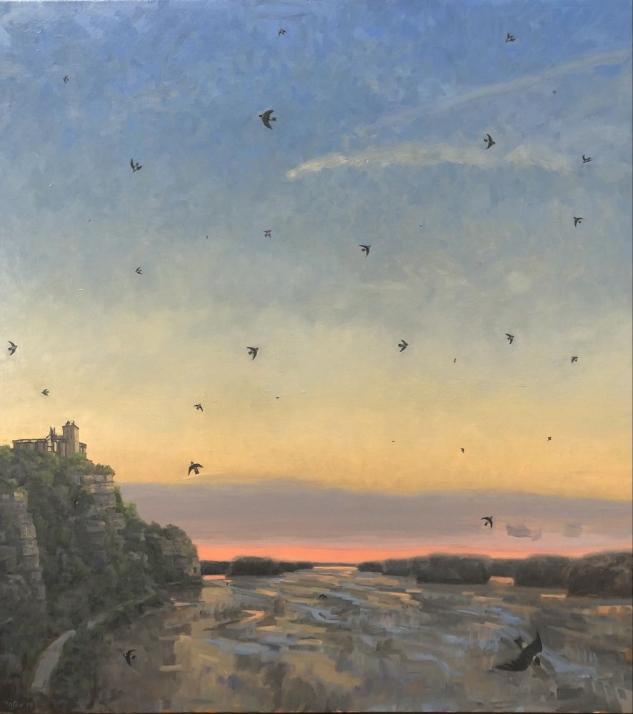 """Cliff Swallows Over The Missouri  22"""" x 40""""  Oil On Canvas"""