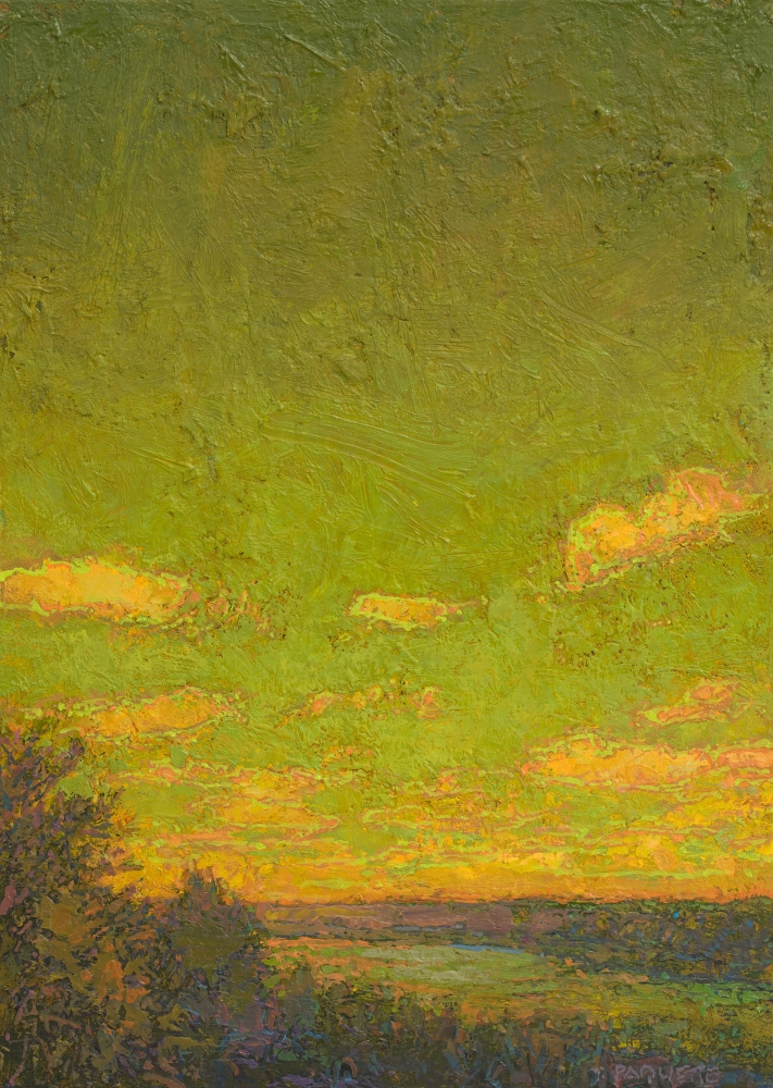 """Green Sky Over The Mississippi  14"""" x 10""""  Oil On Wood Panel"""