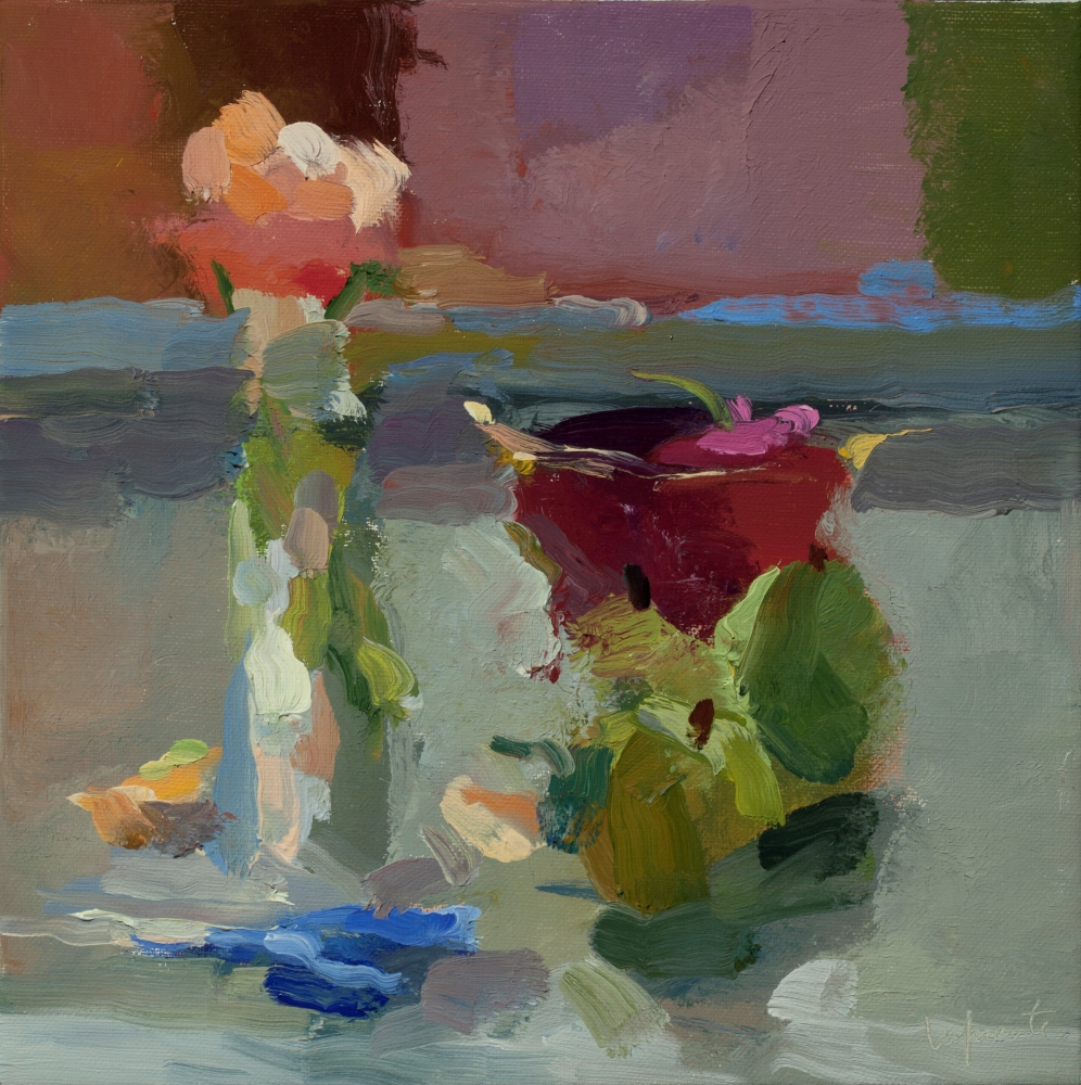 """Roses, Cherries, and Pears  10"""" x 10""""  Oil On Linen"""