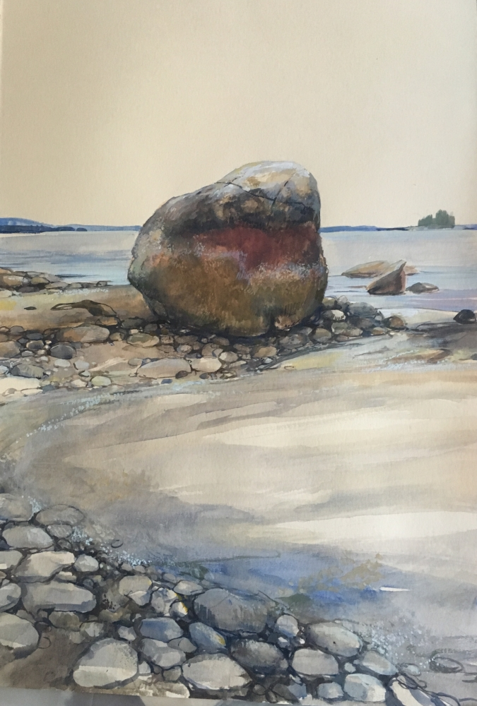 """Fly Point Rocks  22"""" x 15""""  Watercolor On Buff Paper"""