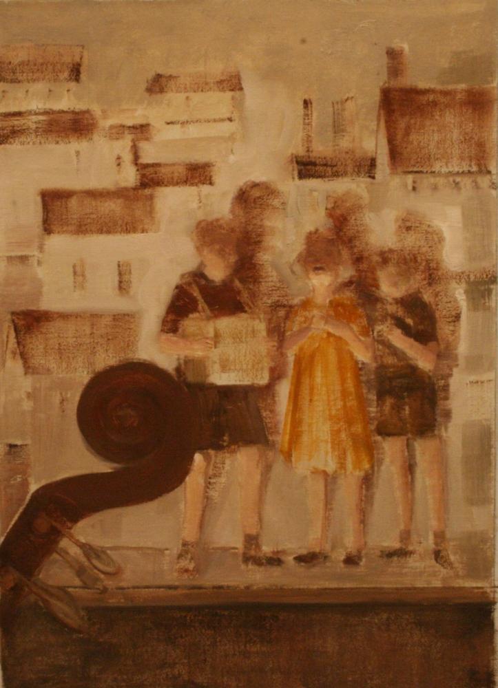 "Children Singing (Brundibar Series)  16"" x 11""  Oil On Canvas"