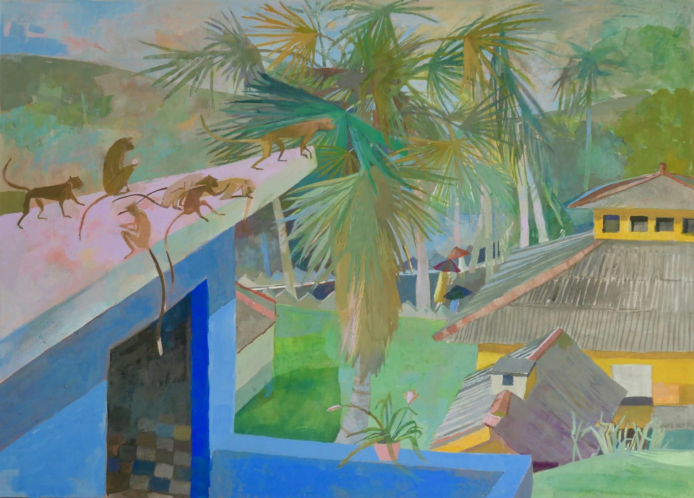 """View From Kusima's House  14"""" x 20""""  Gouache On Paper With Beeswax"""