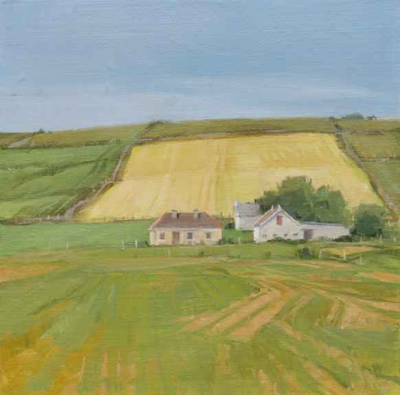 """Jeffrey Reed, Yellow Field  8"""" x 8""""  Oil On Canvas Mounted On Panel"""