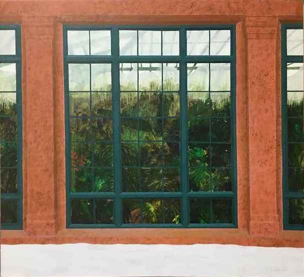 """Leigh Werrell, Longwood Greenhouse  22"""" x 24""""  Oil On Panel"""