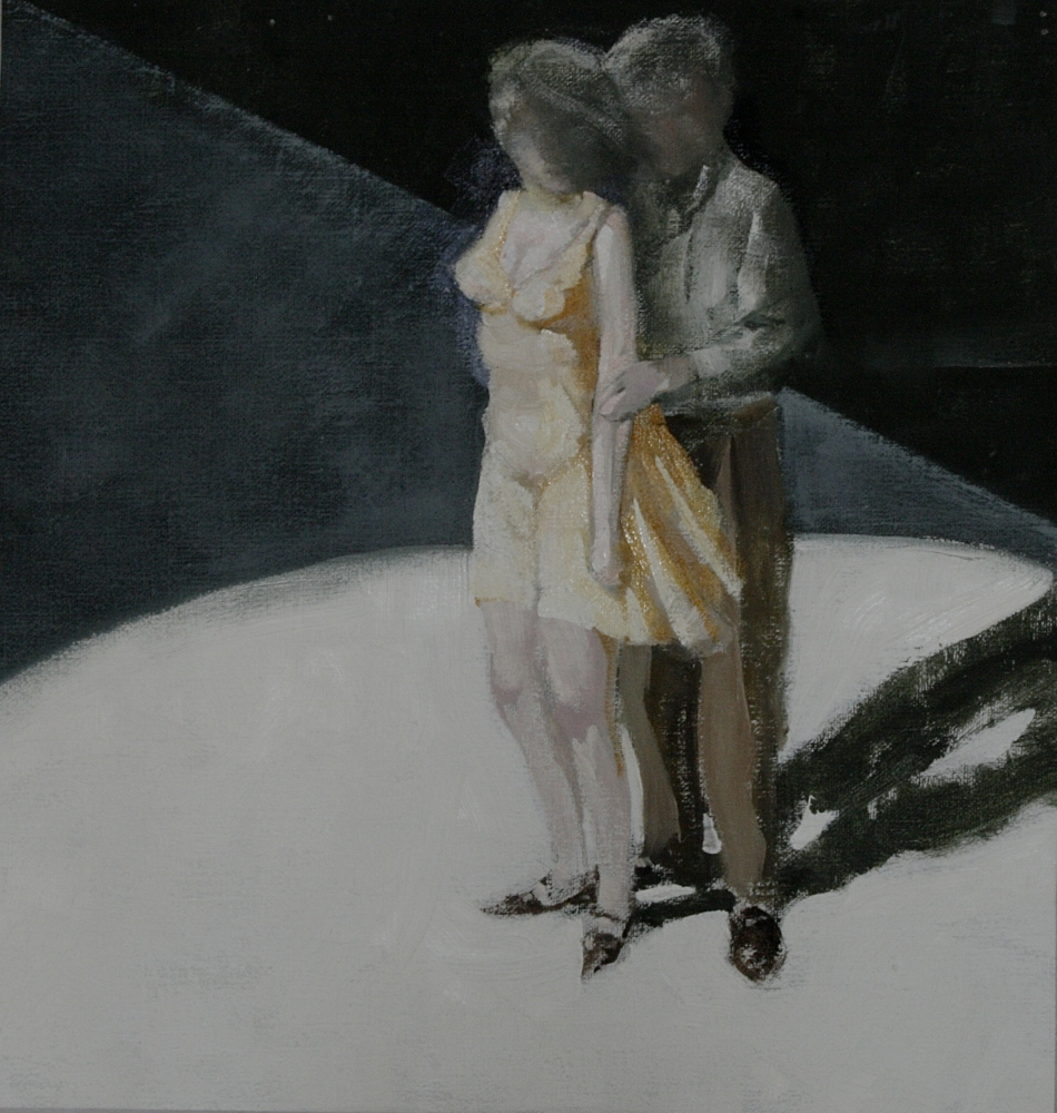 """A Helicopter Eyeballs My Wife  14"""" x 13""""  Oil On Canvas"""