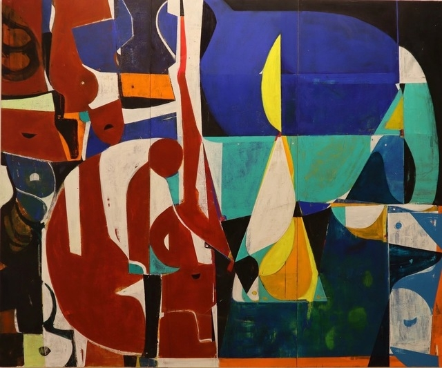 """Large Pastoral With Figures (Gardening At Night)  80"""" x 96""""  Acrylic On Panel"""