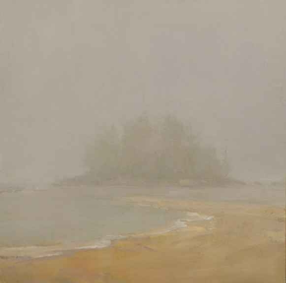 """Jeffrey Reed, Goose Cove Island 8"""" x 8""""  Oil On Canvas Mounted On Panel"""