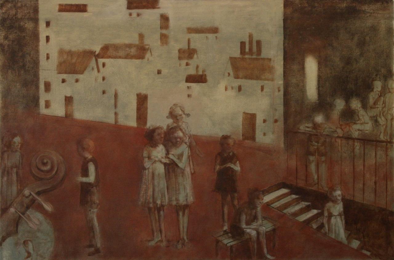 """Rehearsal (Brundibar Series)  24"""" x 34""""   Oil On Canvas"""