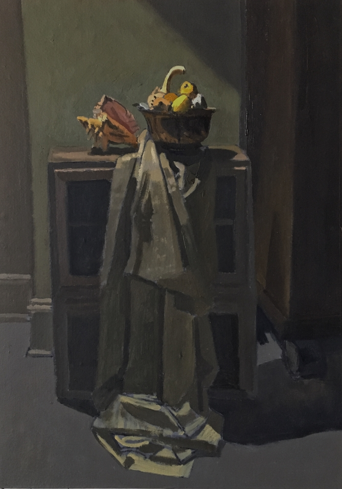 """Interior With Shell And Gourds  20.5"""" x 14.25""""  Oil On Panel"""