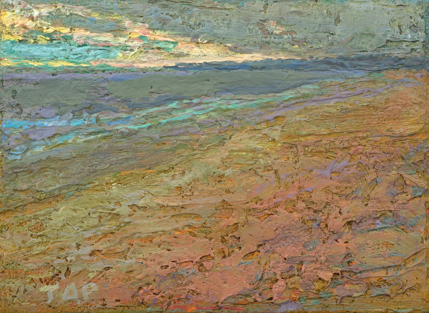 """Thomas Paquette, Sweep Of Beach 2.63"""" x 3.69""""  Oil/Linen/Birch Ply"""