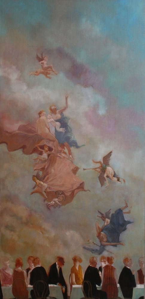 """The Air Within Us (Deaf Republic Series)  58"""" x 28""""  Oil On Canvas"""