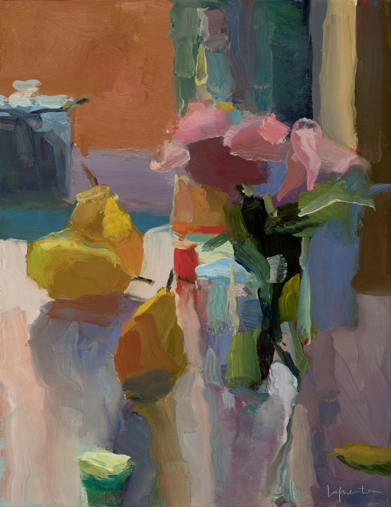 """Roses, Pears, and Percolator  18"""" x 14""""   Oil On Linen"""