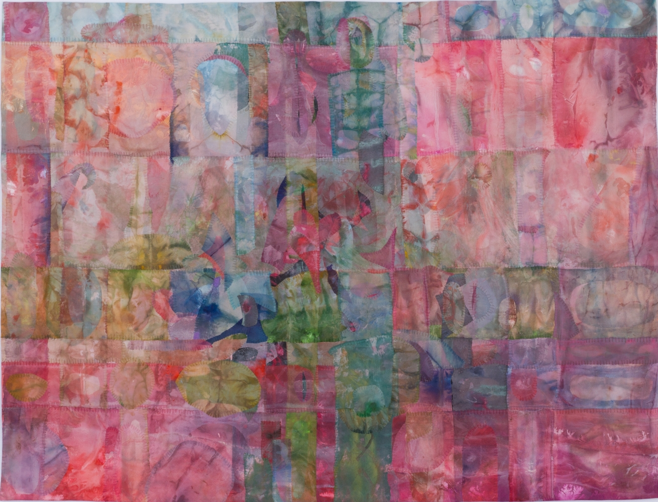 "Spin  38"" x 50""  Acrylic And Thread On Silk"