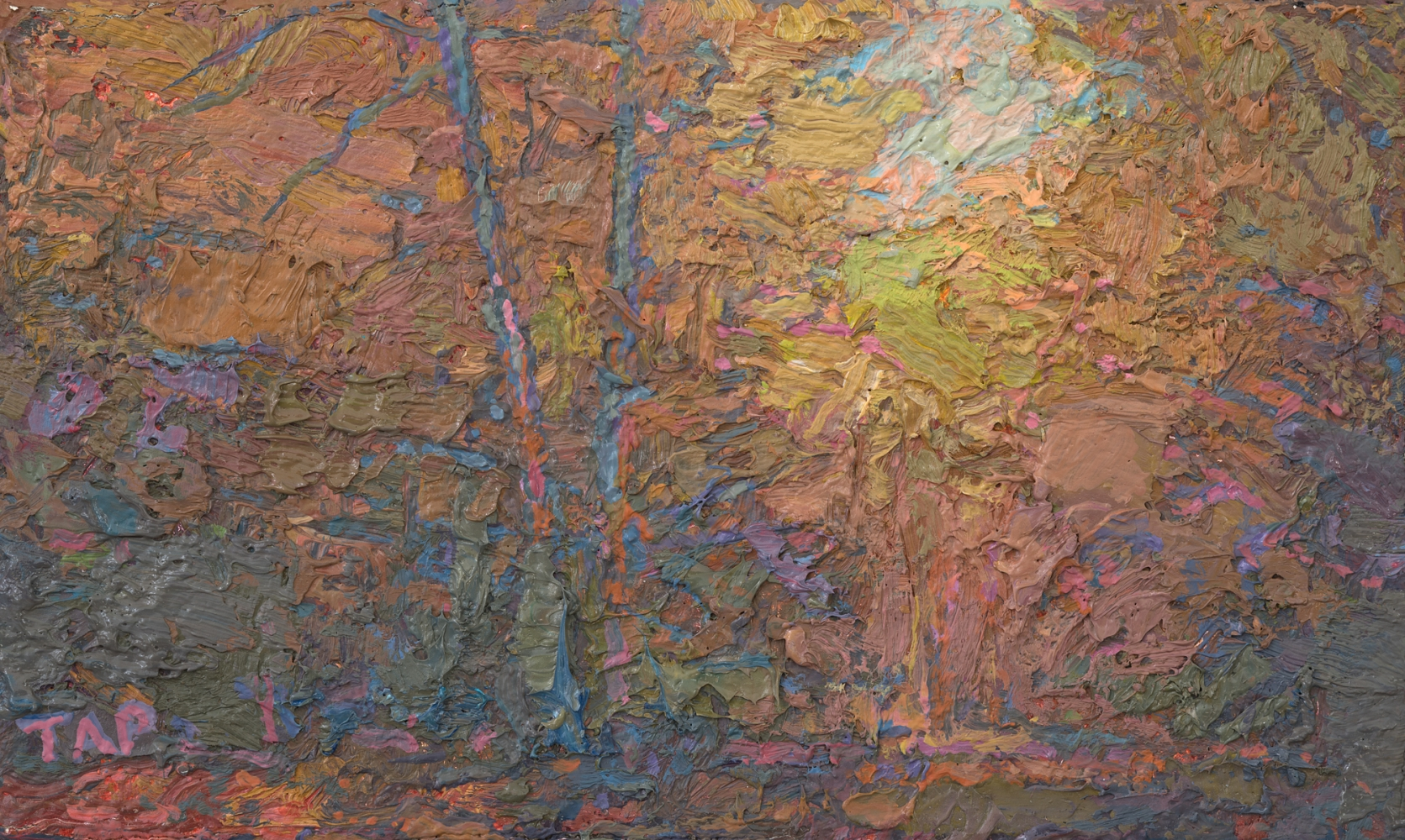 "Ironwood Trail Study III (Red Shift)  3.13"" x 5.13""  Oil/Linen/Mounted On Wood Panel"