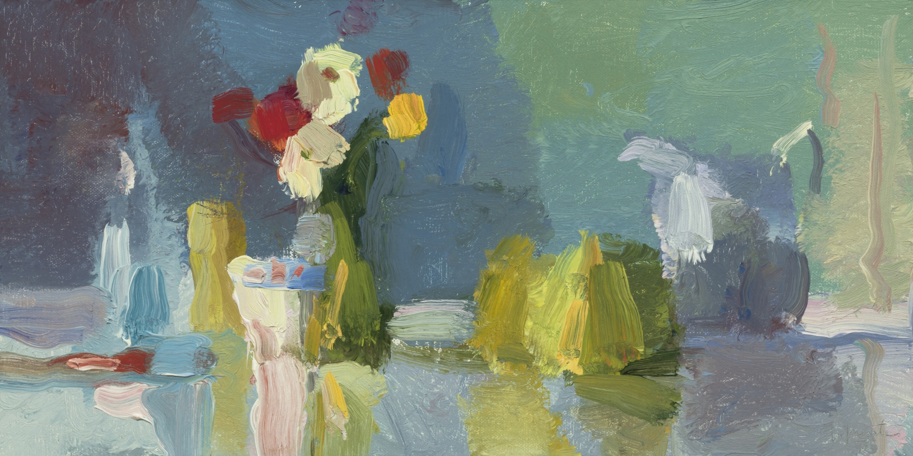 """Teacup, Flowers, And Pears  8"""" x 16""""  Oil On Mounted Linen"""