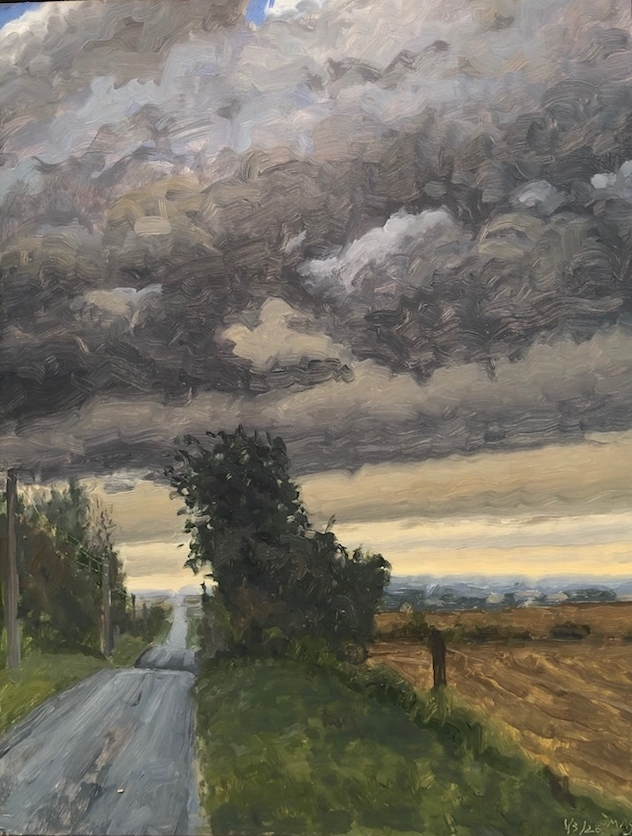 """Storm Approaching Napton  14"""" x 18""""  Oil On Board"""