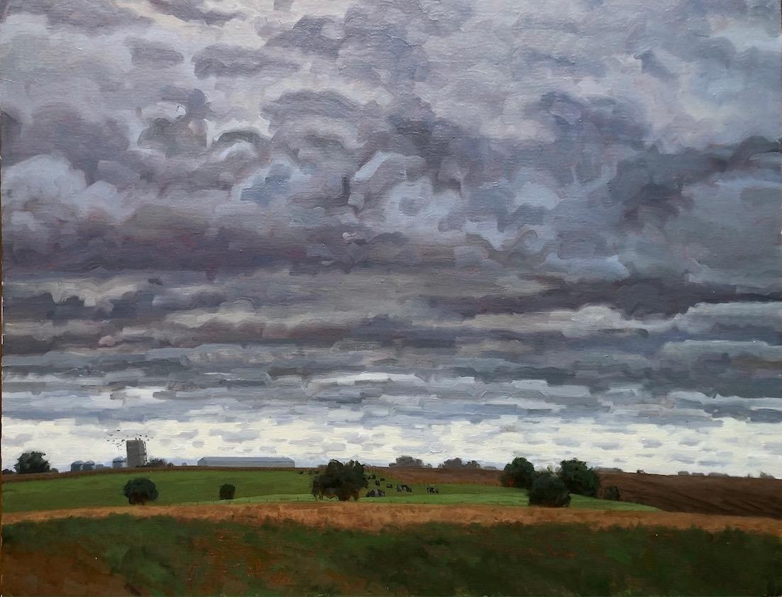 "Silos, Cows, Crows  22"" x 28""  Oil On Canvas"