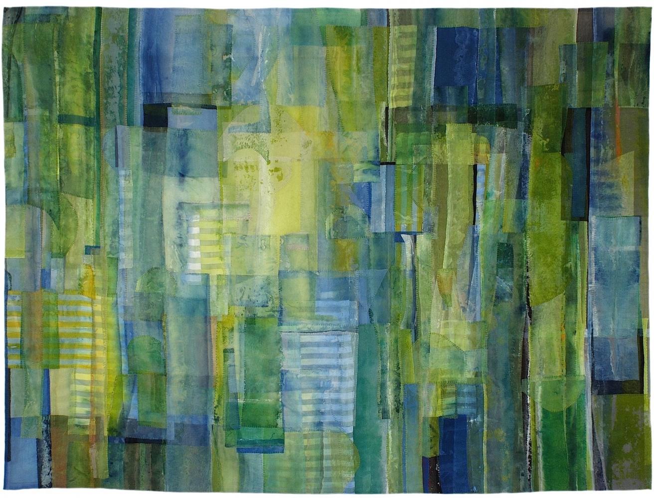"""Cloud Forest  42"""" x 56""""  Acrylic And Thread On Silk"""