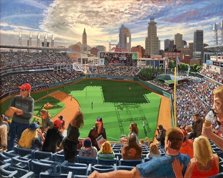 "Dollar Dog Night, Progressive Field, Cleveland, 48"" x 60"", Oil On Canvas"
