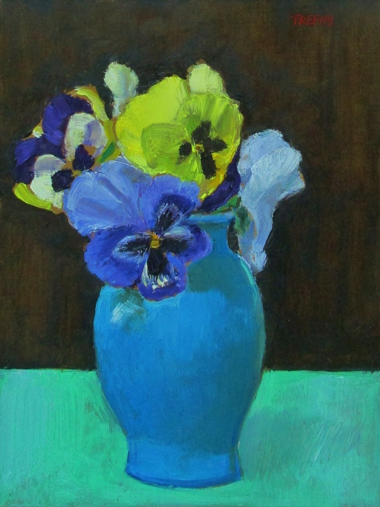 """Pisgah Forest Pansies  10"""" x 8""""  Oil On Panel"""
