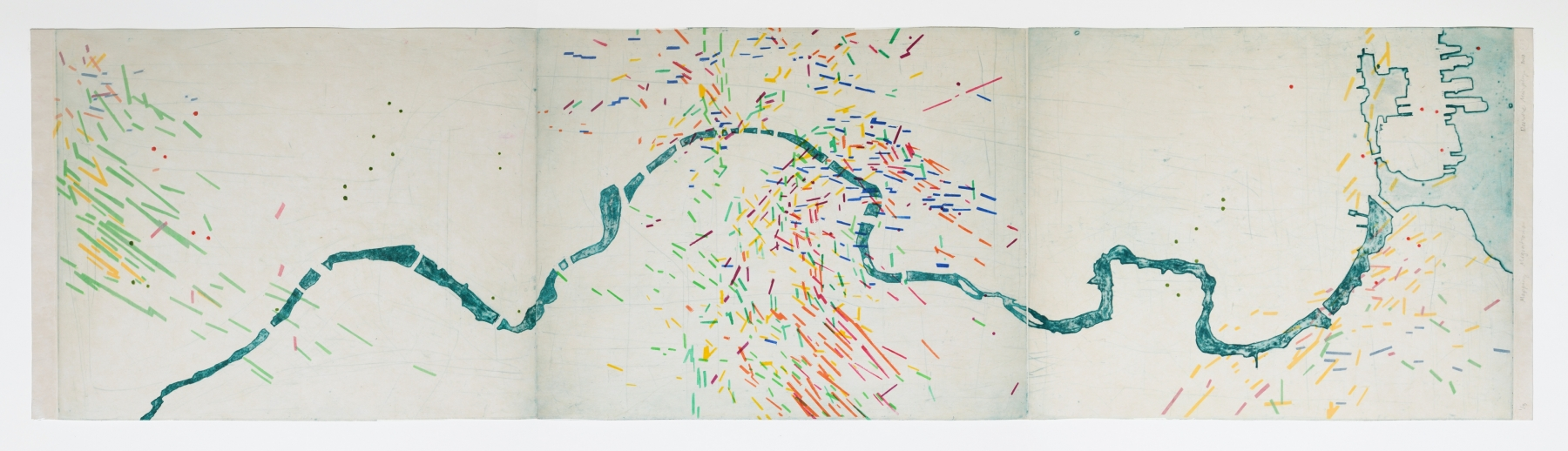 """Mapping Movements  14"""" x 60""""  Intaglio, Chine Colle on Rice Paper"""