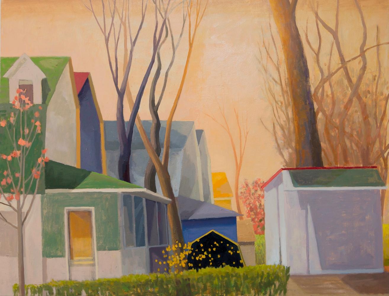 Celia Reisman, Corner Confetti, oil on canvas, 26 x 34 inches