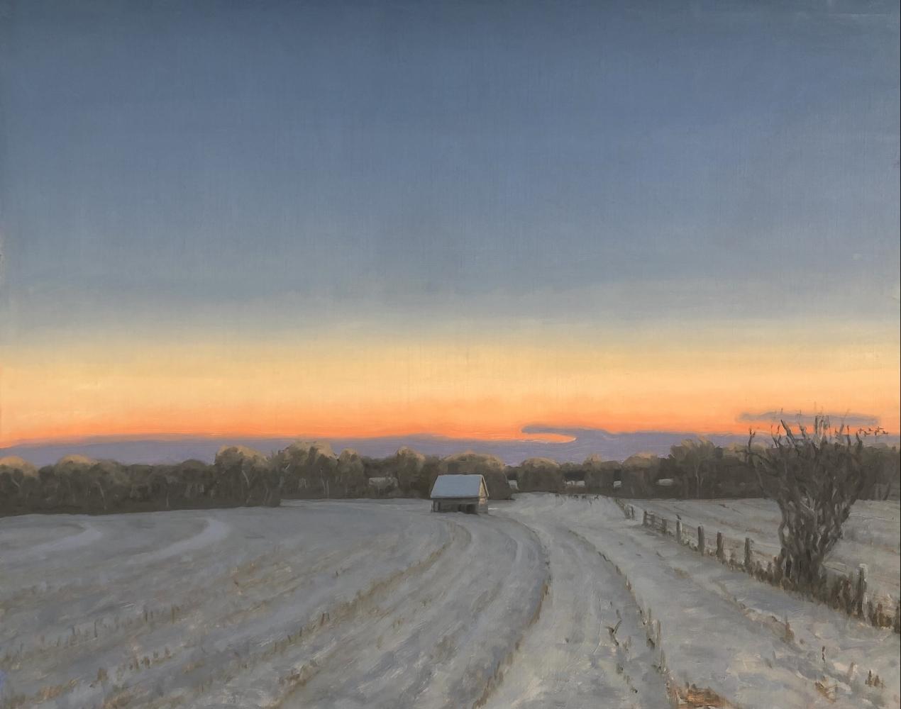 "Winter Corn Crib  22"" x 30""  Oil On Canvas"