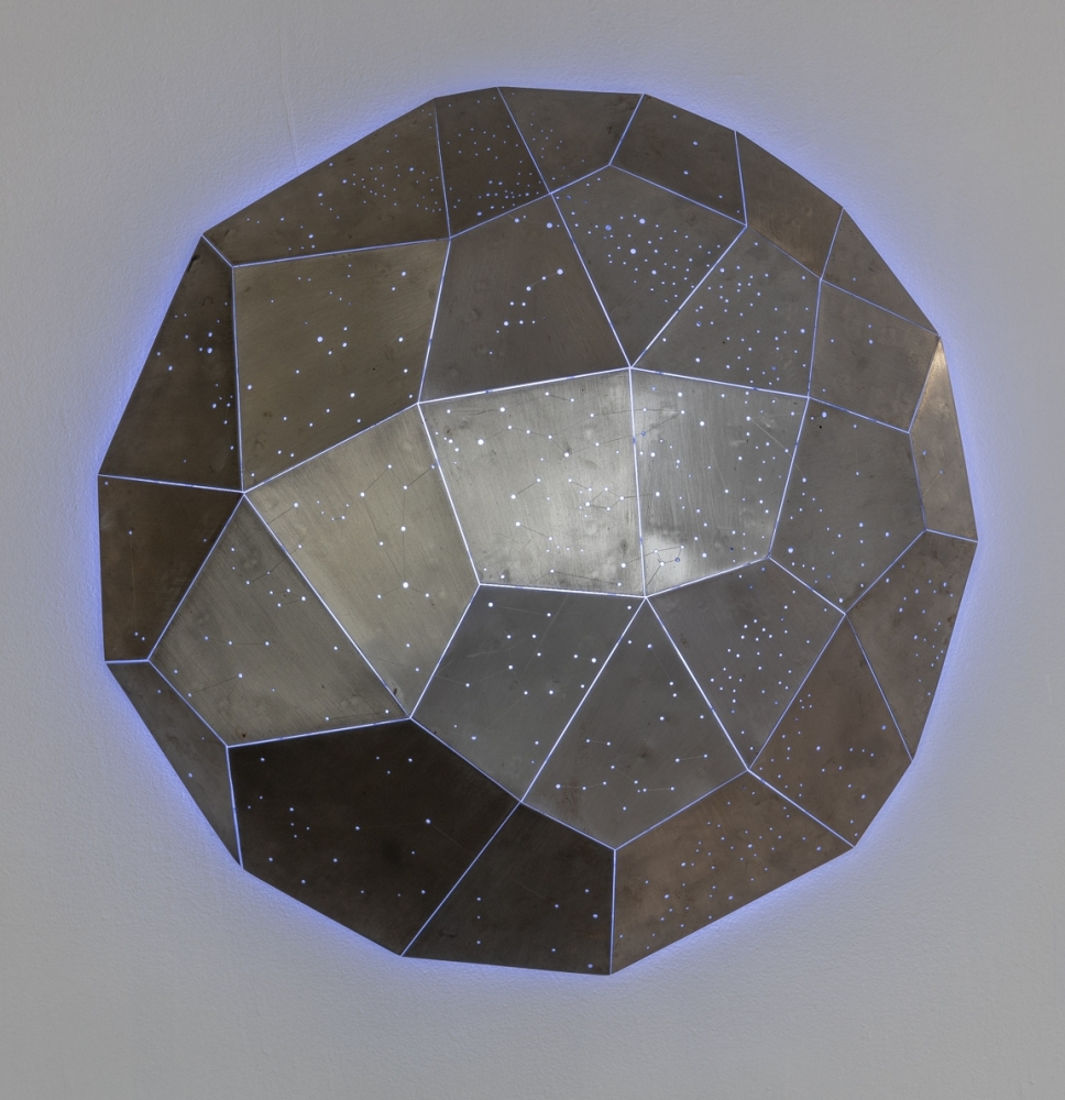 """Star Clusters (In Collaboration With Scott White)  40"""" Diameter  Welded Steel With LED Lighting"""