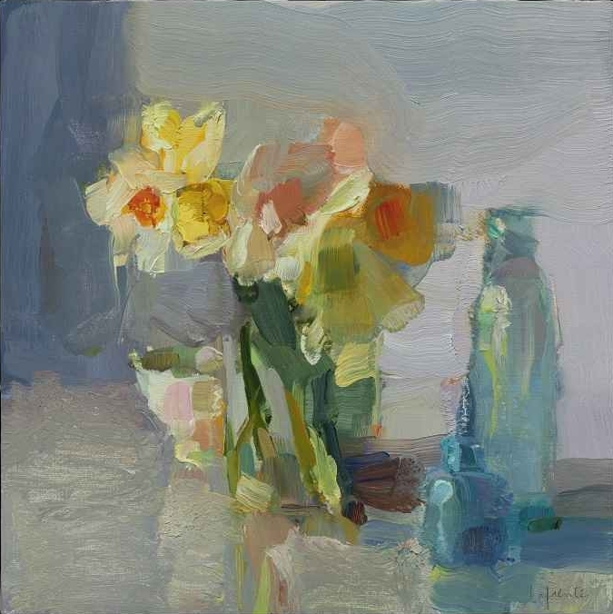 """Daffodils And Blue Bottles  10"""" x 10""""  Oil On Mounted Linen"""
