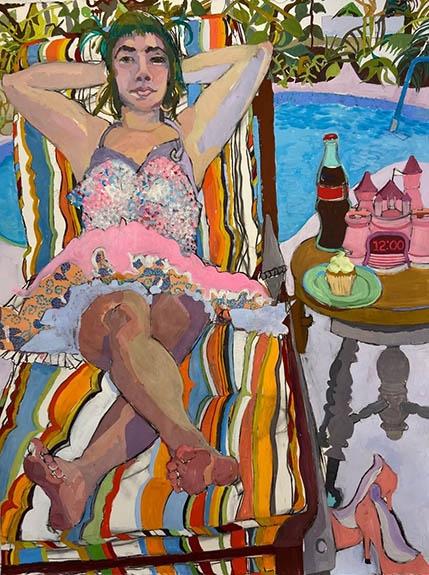 "Meera In Key West  52"" x 30""  Gouache, Charcoal & Oil Pastel"