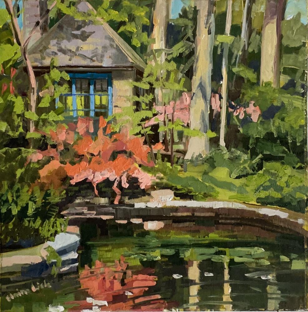 """Azalea Reflection By The Tea House  10"""" x 10""""  Oil On Board"""