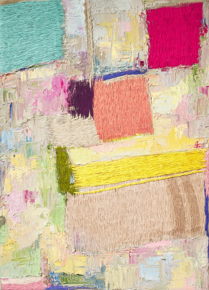 """Color Composition I   35"""" x 25""""  Oil And Thread On Linen"""
