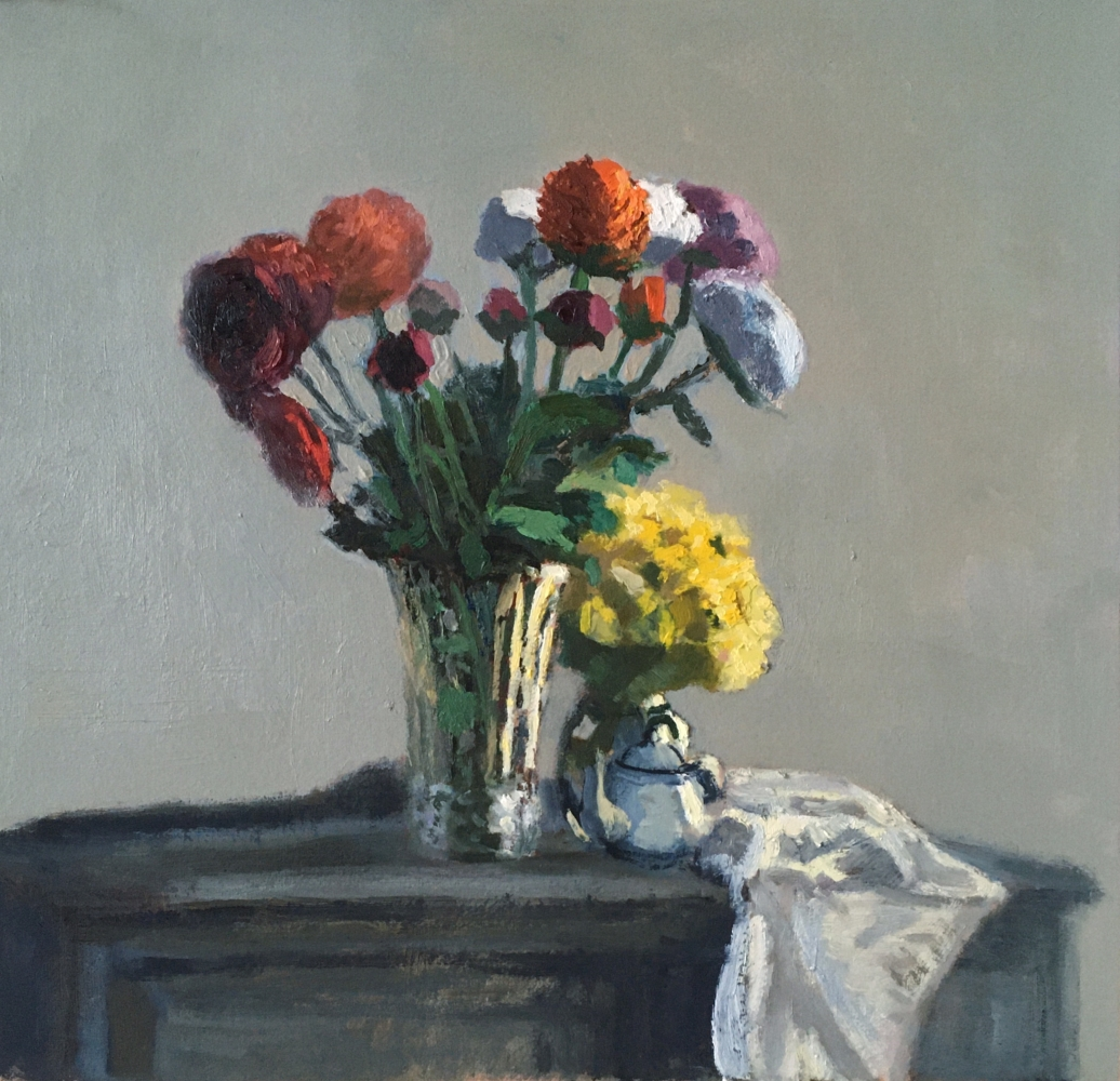"""Ranunculus And Yellow Flowers  13"""" x 14""""  Oil On Panel"""