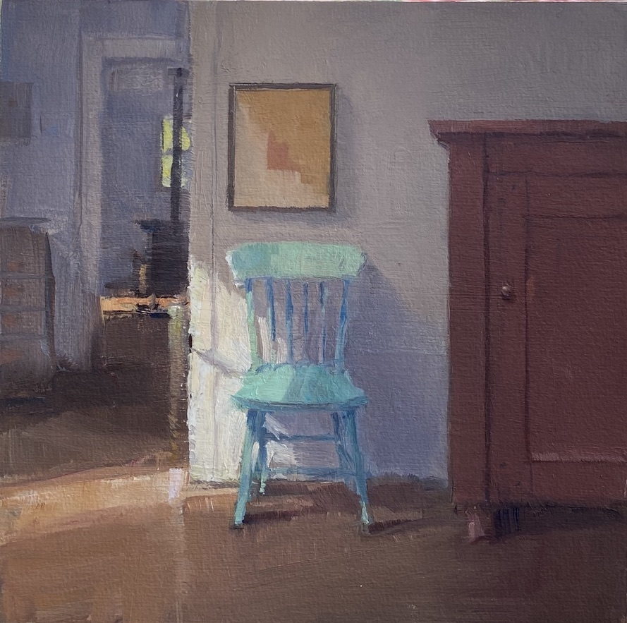 """Green Chair  6"""" x 6""""  Oil On Panel"""