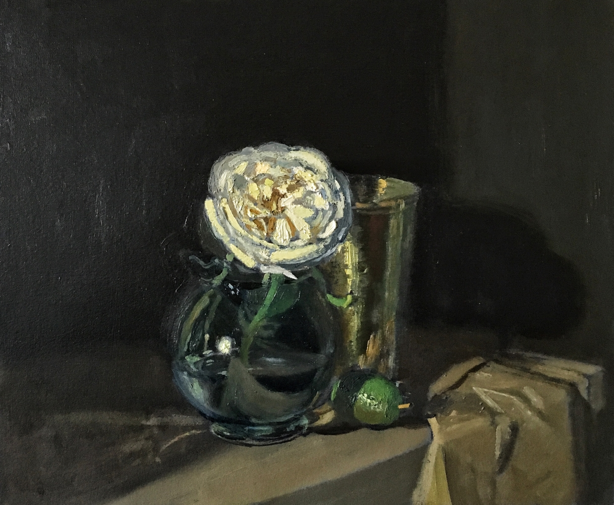 """White Rose And Lime   10.5"""" x 12.5"""" Oil On Panel"""