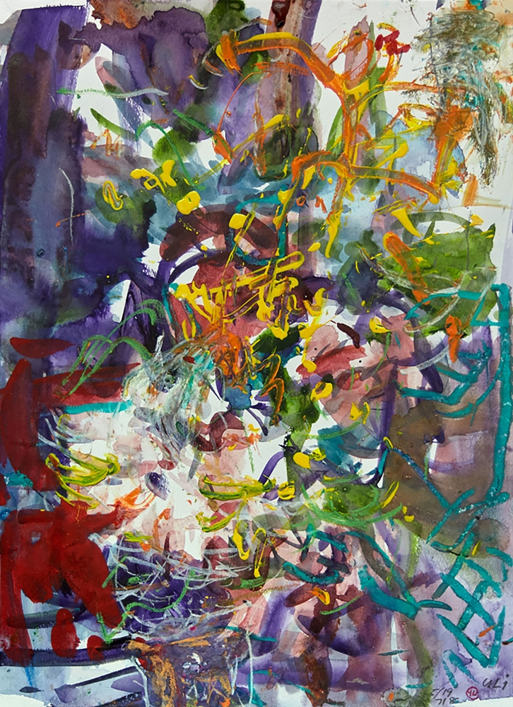 """Wild Flowers Of The Lockdown #2  15"""" x 11""""  Mixed Media On Paper"""