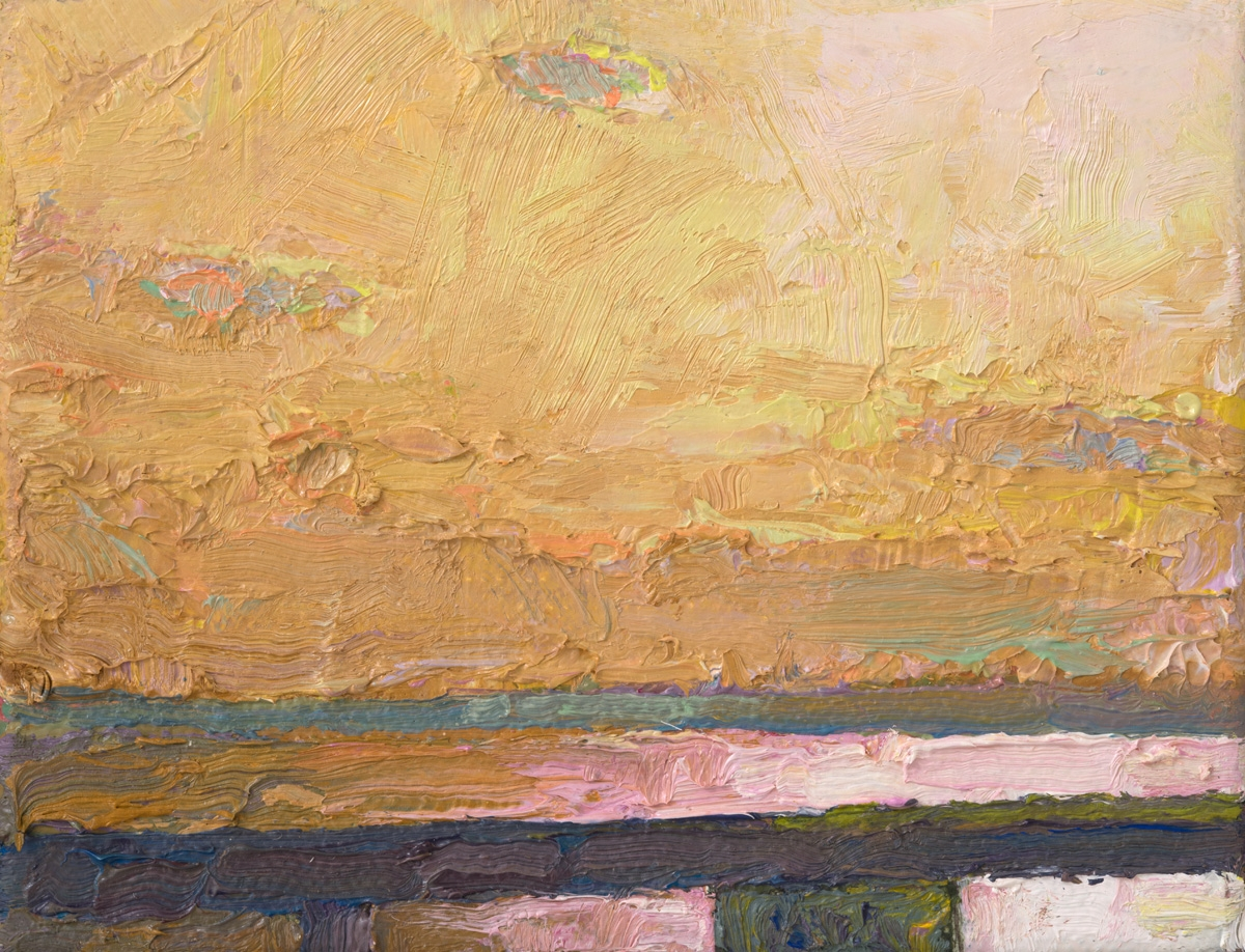 """Thomas Paquette, Stay In I (Orange)  3.25"""" x 4.13""""  Oil/Linen Mounted On Birch Panel"""