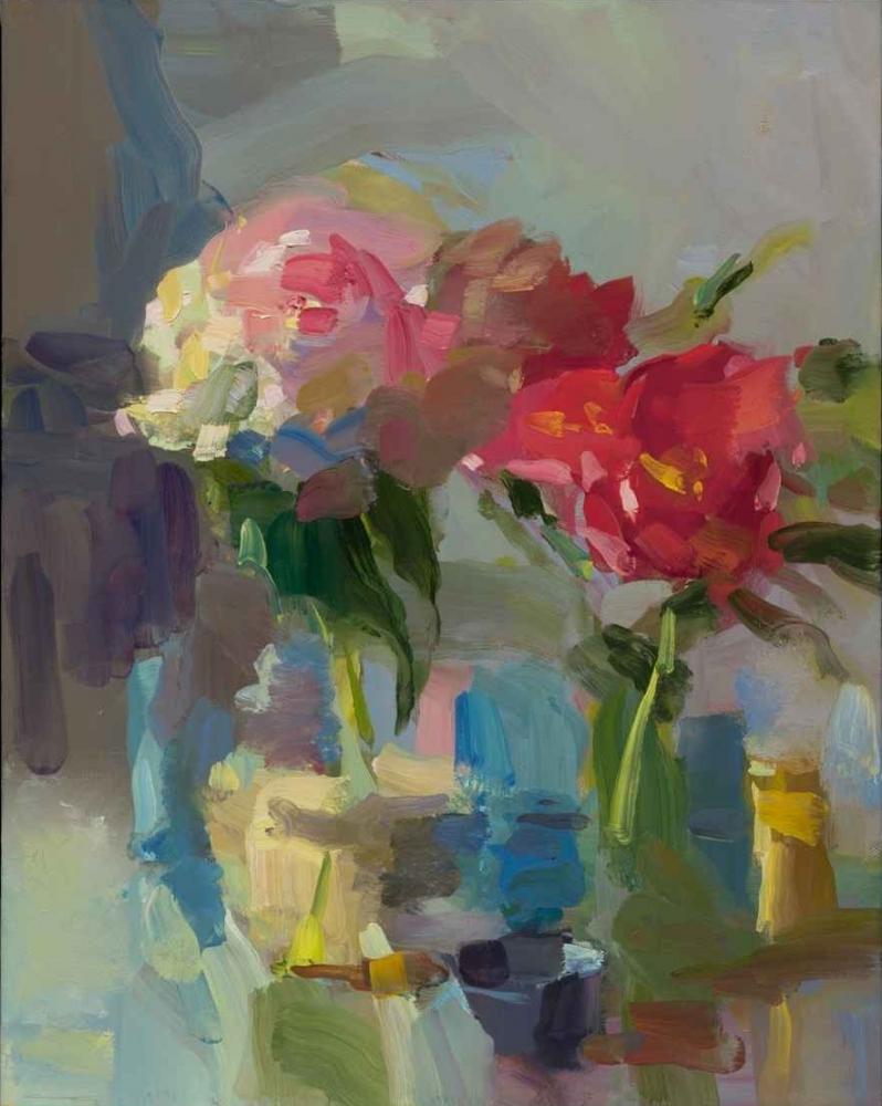 "Peonies In Full Bloom  28"" x 22""  Oil On Linen"