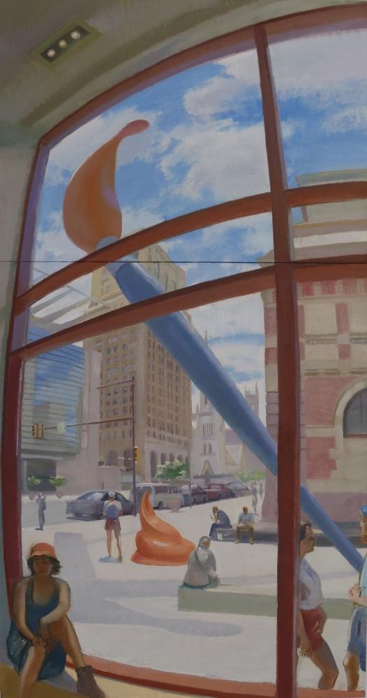 """Lenfest Plaza  80"""" x 38""""  Oil On Linen"""