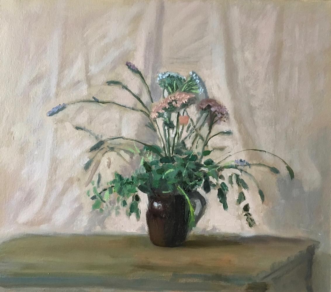 "Garden Flowers  12.5"" x 14""  Oil On Panel"