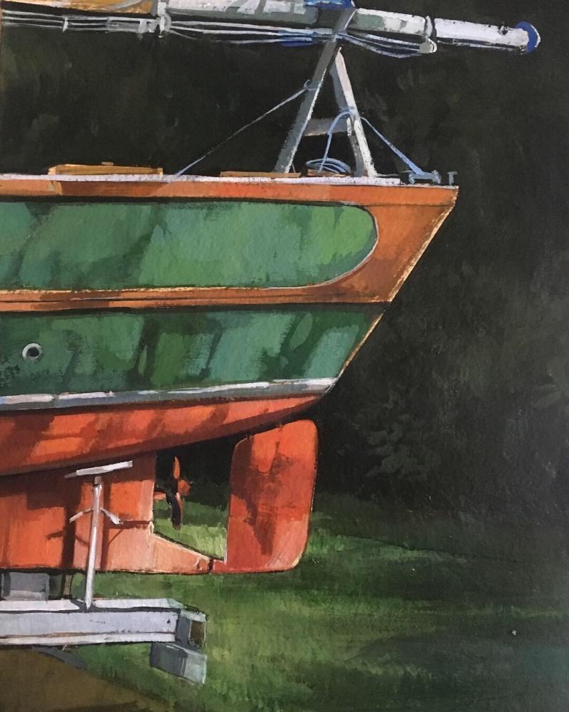 "Boat  22"" x 15""  Oil On Panel"