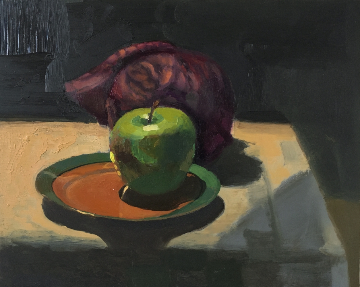 """Apple And Red Cabbage  8"""" x 10""""  Oil On Panel"""