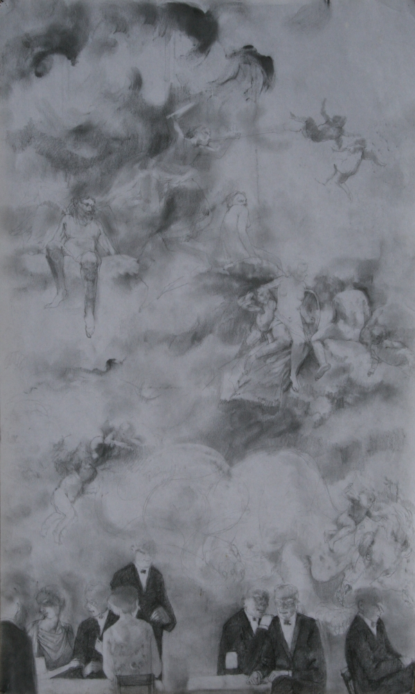 """Something Of The Sky In Us, Study #1  20"""" x 12""""  Charcoal"""