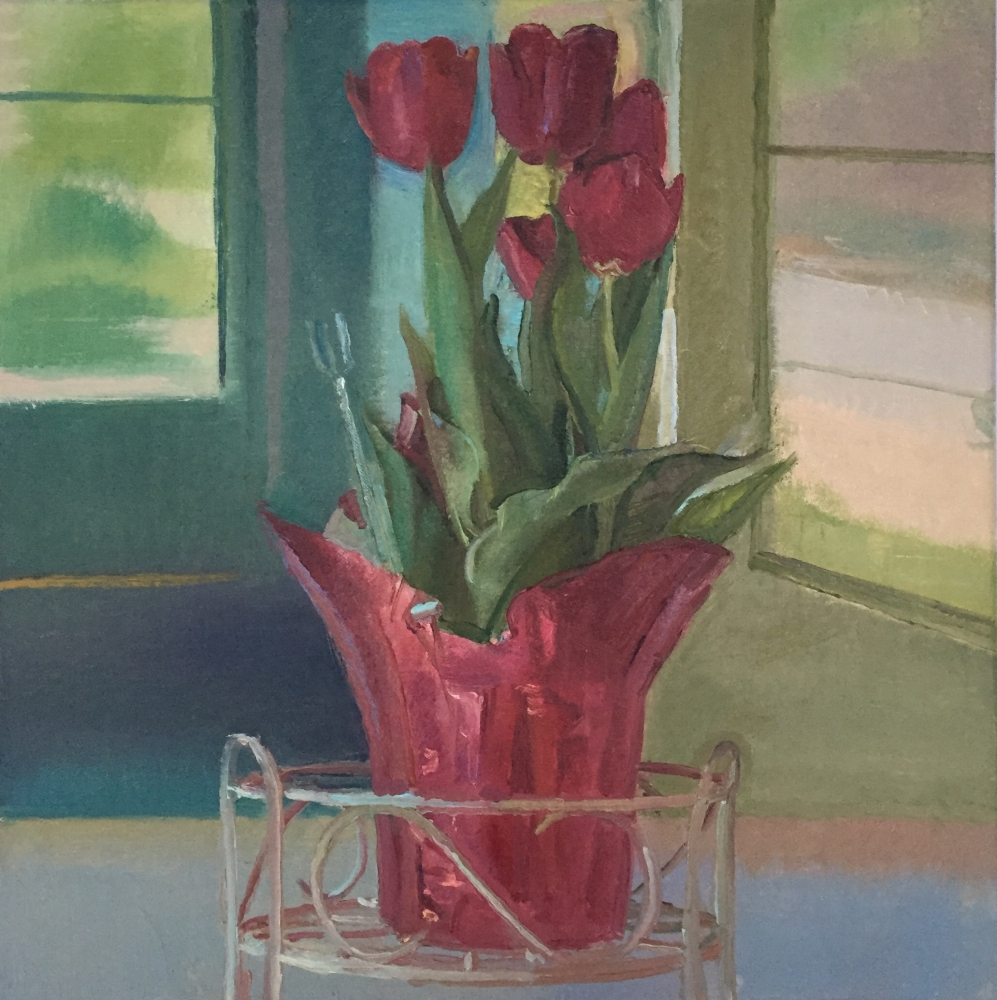 """Red Tulips on the Porch  22"""" x 20""""  Oil On Linen"""