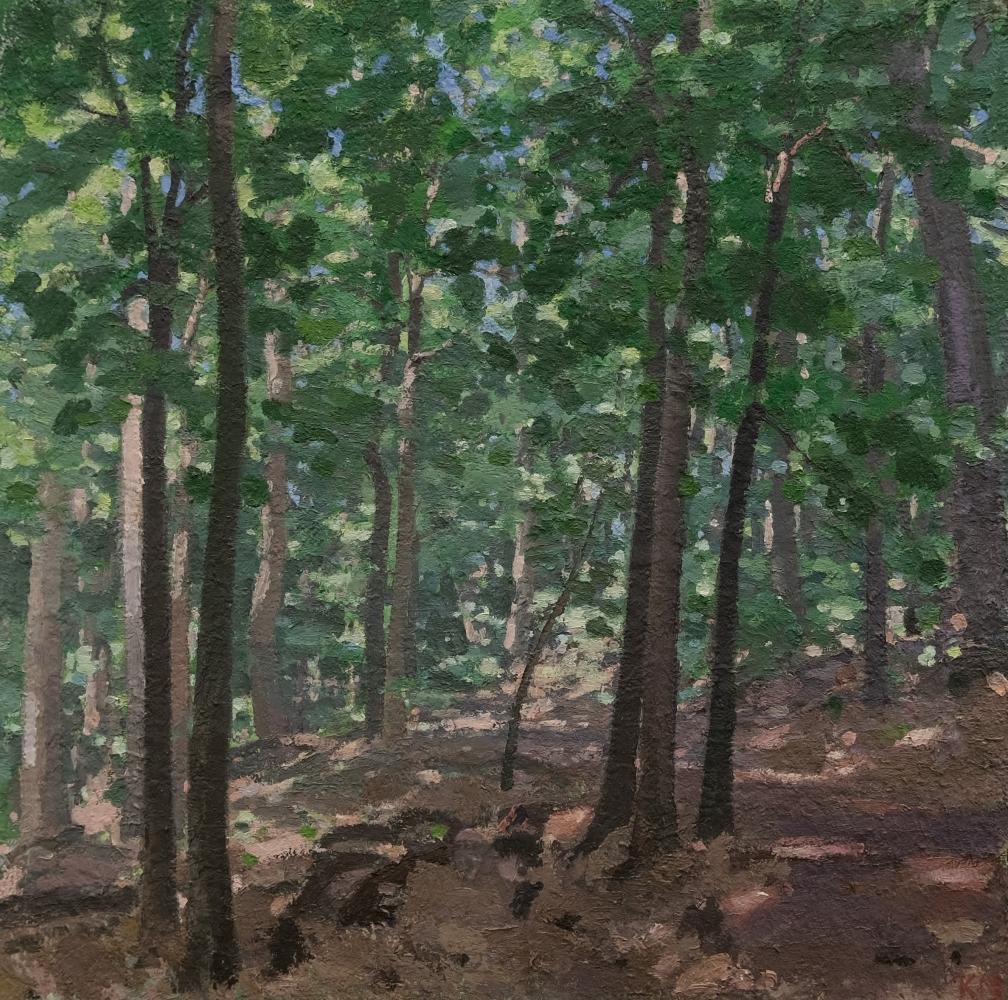 "Path In Washington Grove  30"" x 30""  Oil On Wood"