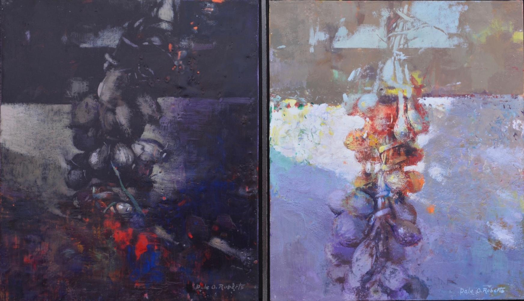 """Onions Dark And Light (Morocco)  16"""" x 28""""  Encaustic"""