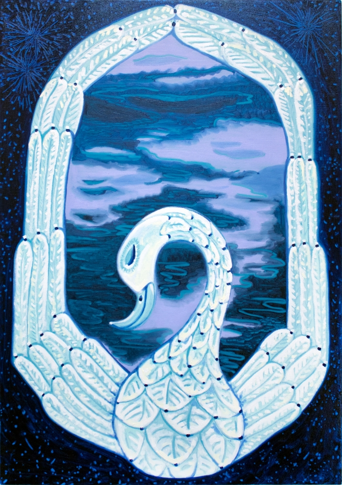 """Mirror (Into The Blue Again)  34"""" x 24""""  Oil On Canvas"""