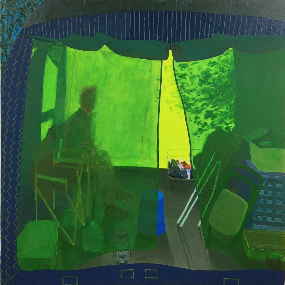 """Camping With Henry  28"""" x 28""""  Oil On Canvas"""