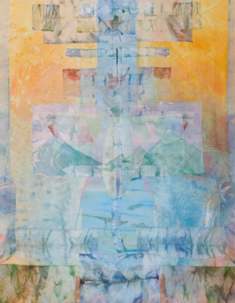 "Suspension  43"" x 34""  Acrylic And Thread On Silk"